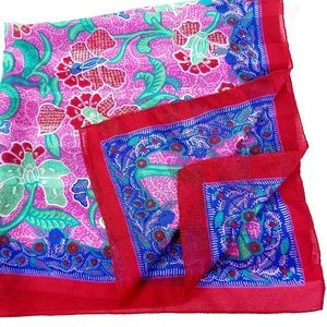 "Accessories - Ladies Scarf Red Pink Floral Scarf Square 29""x29""."